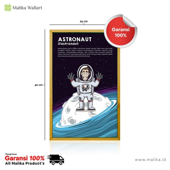 Foto Produk Poster Edukasi Untuk Anak Tentang Profesi Sebagai Astronot Frame Kayu dari malikawallart