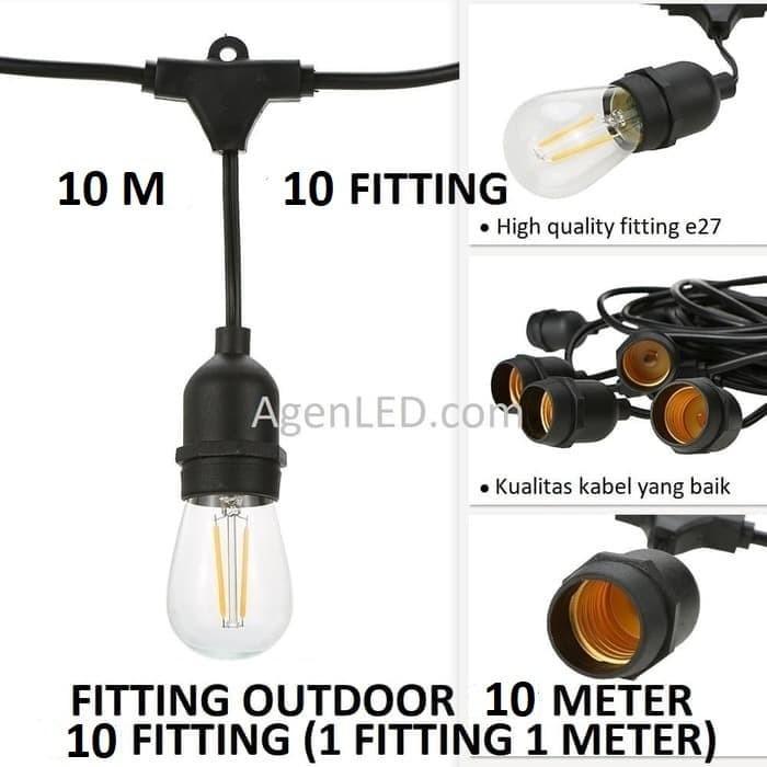 Foto Produk FITTING LAMPU OUTDOOR 10 FITTING 10M E27 10 M fiting kabel 10 METER F3 dari AgenLED