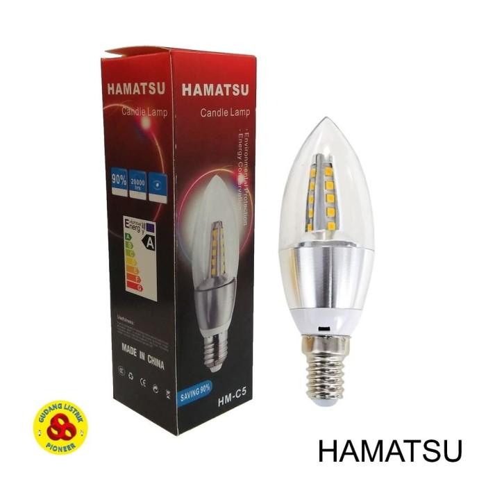 Foto Produk Lampu LED Candle 5W Kuning E14 Clear Bohlam Jantung 5 Watt 3000K WW dari Gudang Listrik