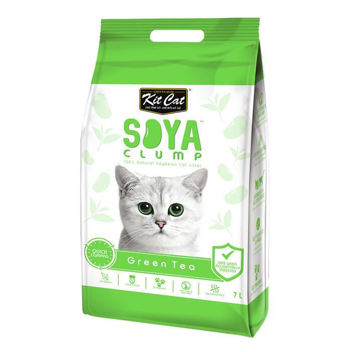 Foto Produk Kit Cat Tofu Soya Clump Litter 7L Green Tea Pasir Kucing Gumpal Teh dari Hime petshop