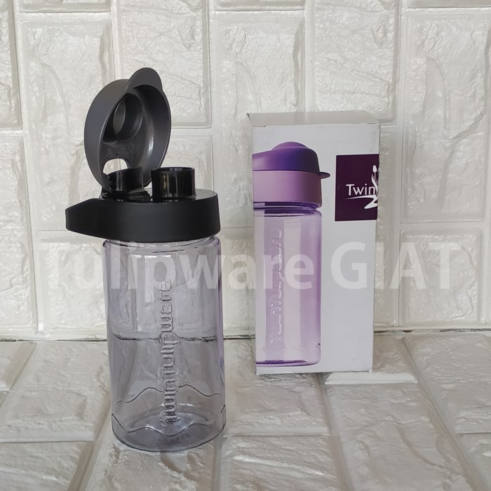 Foto Produk Mini MultiBotol MACHO Tulipware / Botol Minum Hitam Bening Anti Tumpah dari TULIPWARE collection