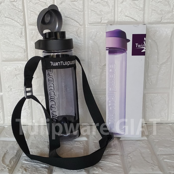 Foto Produk Multi Botol MACHO Tulipware / Botol Minum Hitam Bening Anti Tumpah dari TULIPWARE collection