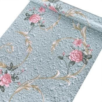 Foto Produk wallpaper damask flower pink 45 cm x 10 mtr || Wallpaper dinding dari dedengkot wallpaper