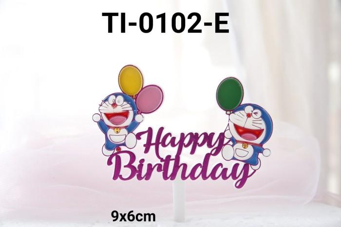 Jual Ti 0102 E Cake Topper Plastik Tulisan Happy Birthday Doraemon Ungu Jakarta Timur Yamama Baking Tokopedia