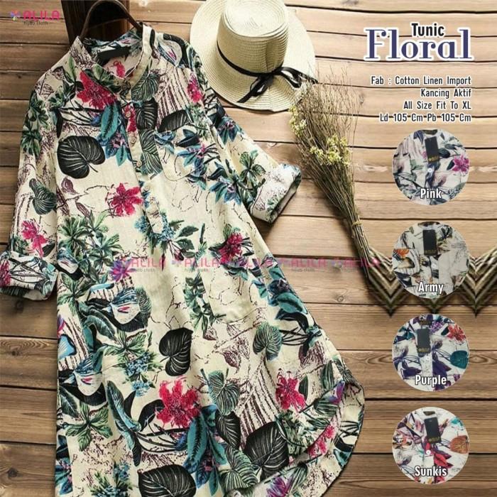 Foto Produk Baju Atasan Wanita Blouse Muslim Floral Tunik Alilla dari myfashion