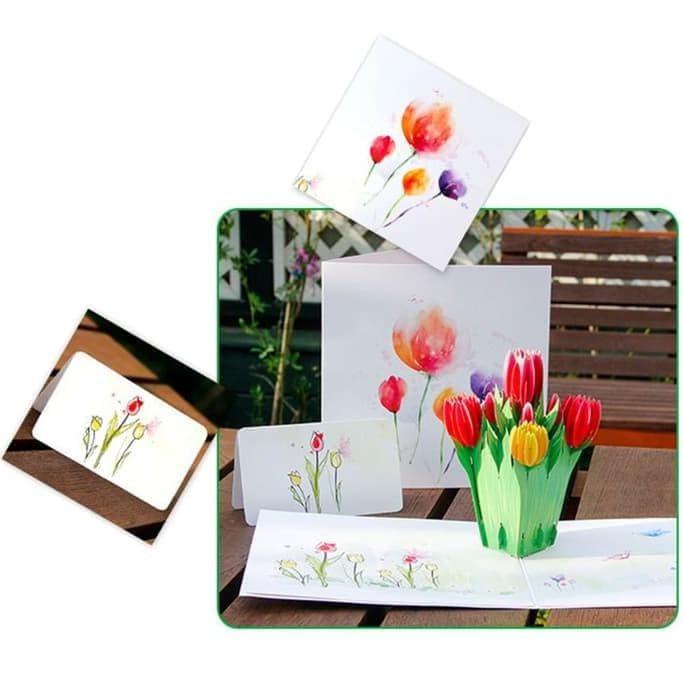 Kartu Ucapan Bunga 3d - kartu ucapan souvenir