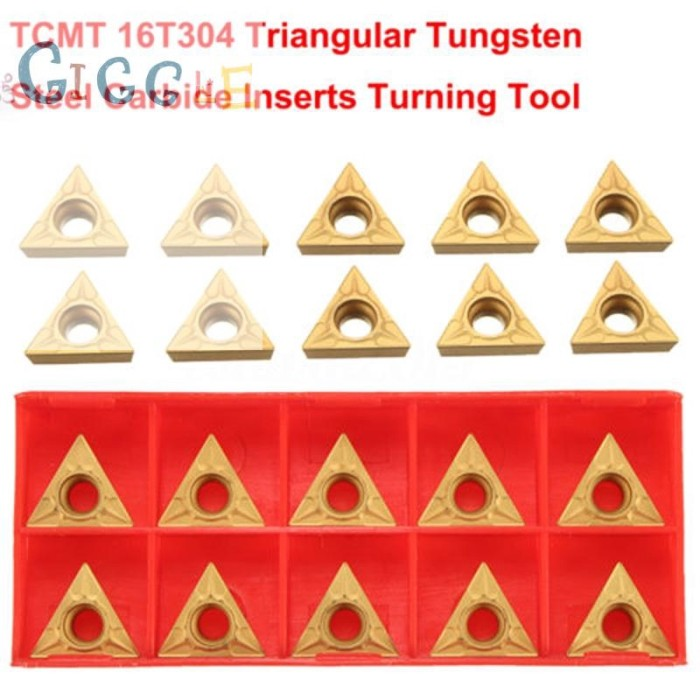 10Pcs TCMT 16T304 Gold Triangular Tungsten Steel Carbide Inserts Turning Tools !