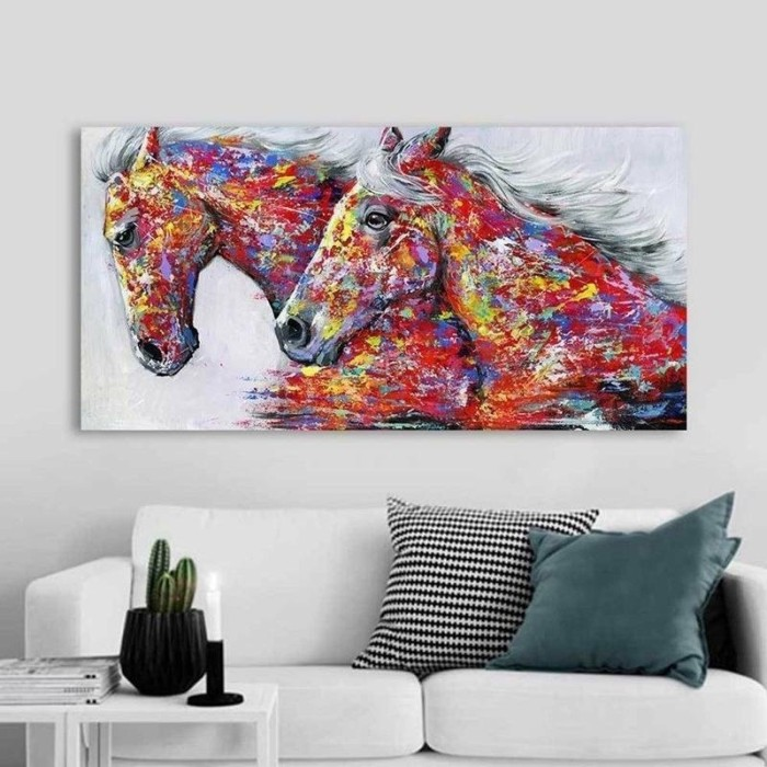 Jual Simple Modern Art Horses Canvas Painting Picture Print Home Wall Jakarta Barat Store Alim Tokopedia