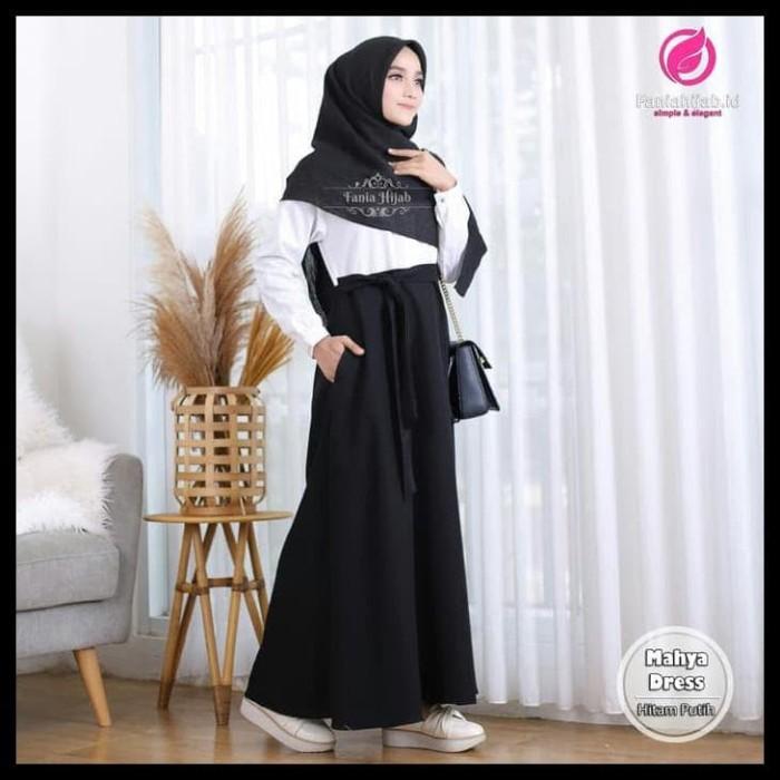 Jual Mahya Hitam Putih Baju Muslim Gamis Syari Fania Hijab Hitam Putih Jakarta Barat Uswa Market Tokopedia