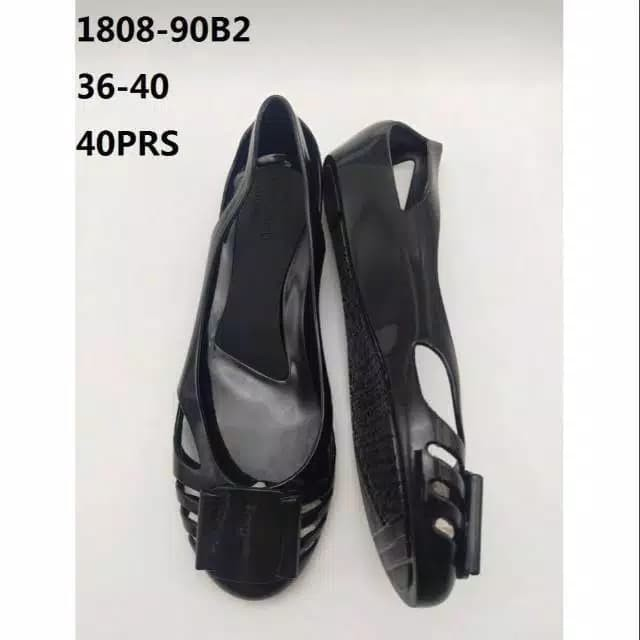Foto Produk Sepatu Wanita Jelly Shoes Color Plate Classic Flatshoes Slip on murah - Hitam, 40 dari Gracia OS