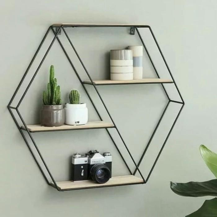 Jual Rak Dinding Besi Rak Hias Pot Bunga Besi Hiasan Dinding Hexagon Kab Kuningan Duakaki Shop Tokopedia