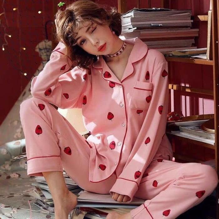 Foto Produk Baju Tidur Piyama Lengan Panjang Wanita Dewasa Stoberi Pink Kaos Tebal dari SJLA Store