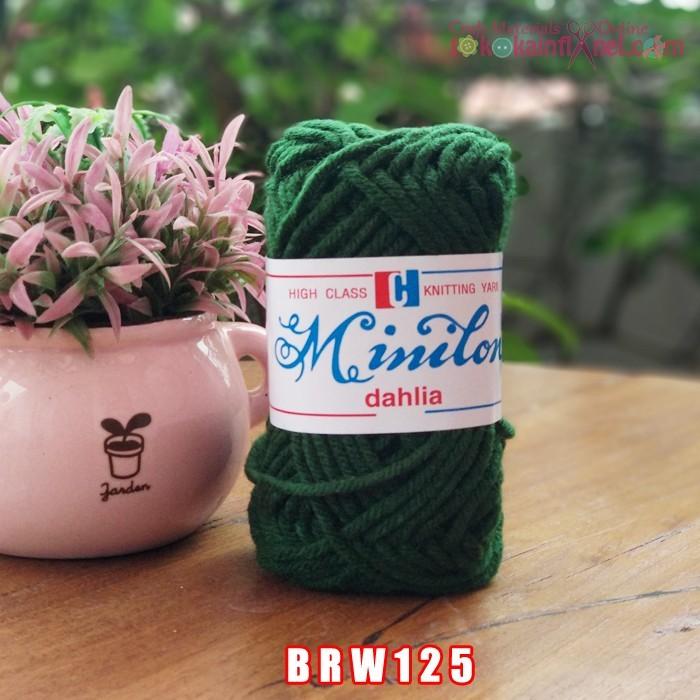 Foto Produk BRW125 Benang Rajut Wol Diameter besar 2mm Cap minilon Hijau Tua dari Toko Kain Flanel dot com
