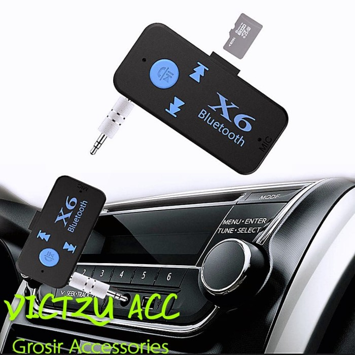 UEB X6 Bluetooth Receiver 3.5mm Jack Car AUX Audio Mini Wireless Adapter Hands-Free Car Kits TF Card Play Music Receiver