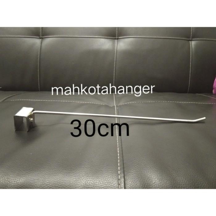 Foto Produk Single Hook besi chrome pipa kotak 30cm display gantungan aksesoris dari MahkotaHangerJaya