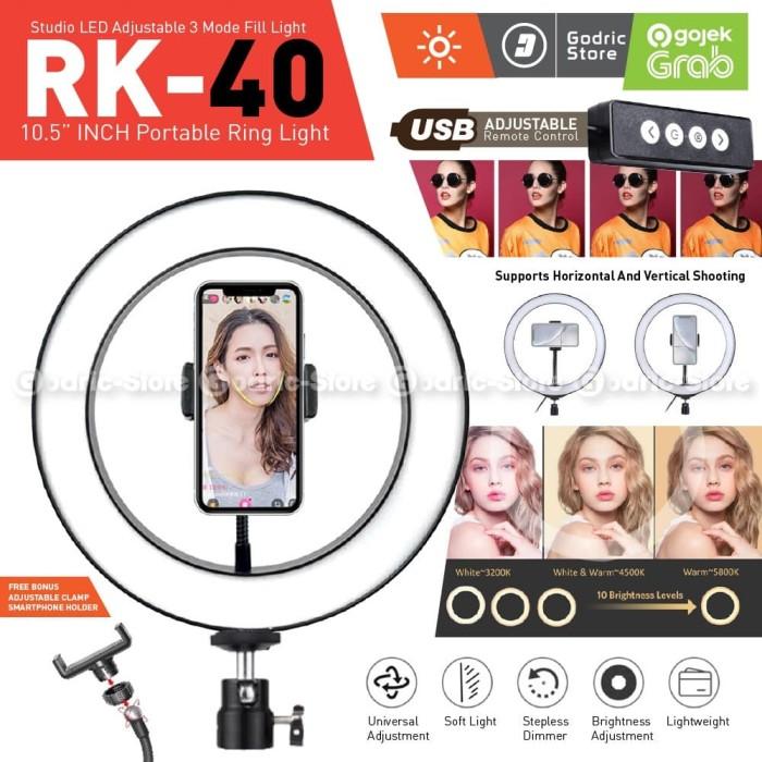 Foto Produk RING LIGHT LED COSTA RK40 26CM Lampu MultiColor Make Up Vlog Ringlight dari Godric Store