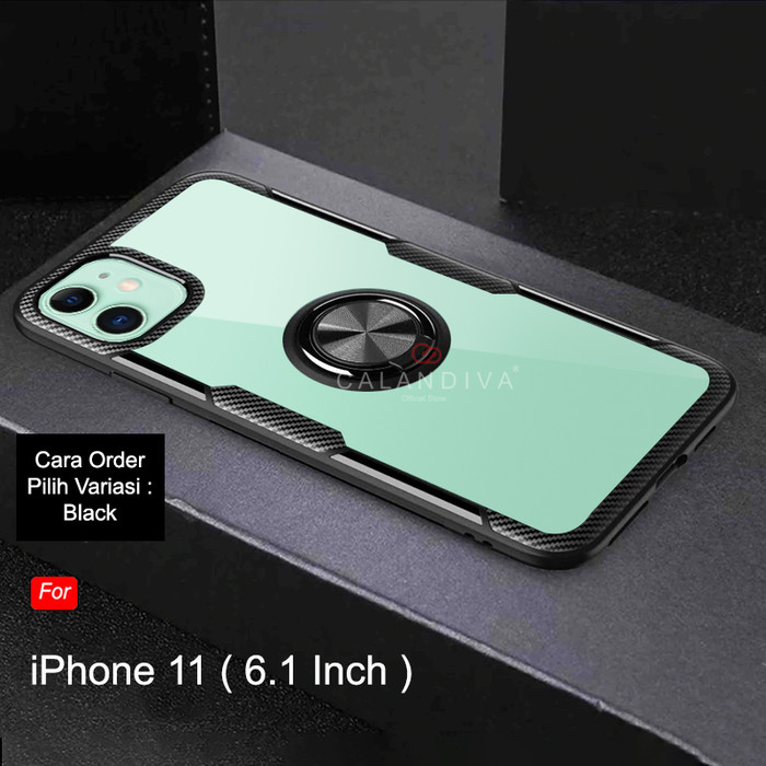 Foto Produk Calandiva iPhone 11 Pro Max / 11 Pro / 11 Hard Case Transparent Ring - Hitam, iPhone 11 dari Calandiva Official Store