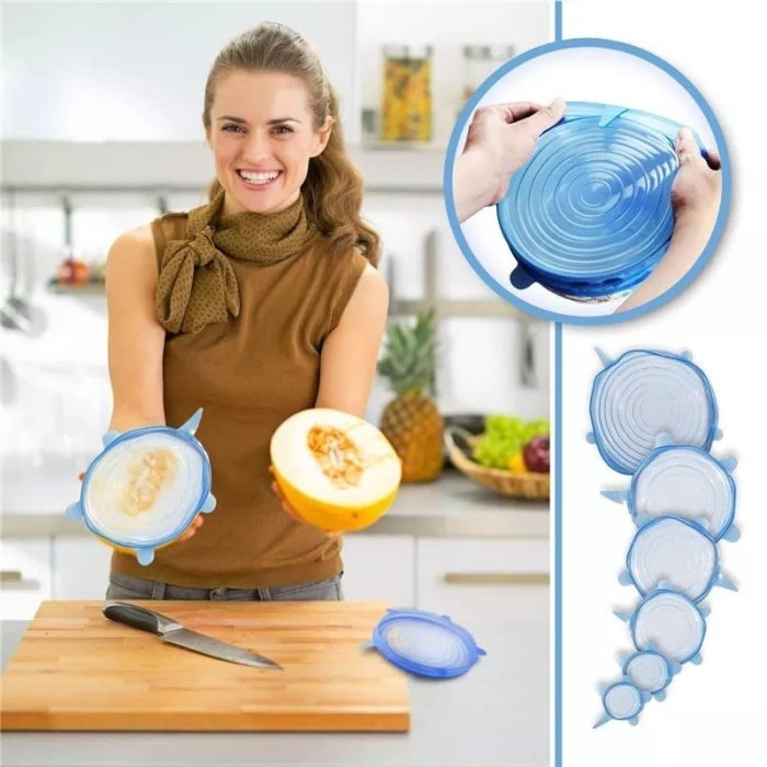Foto Produk 6 In 1 Stretch Bowl Cover Lid Silicone Food Cover Penutup Makanan K312 dari JBS New York Official