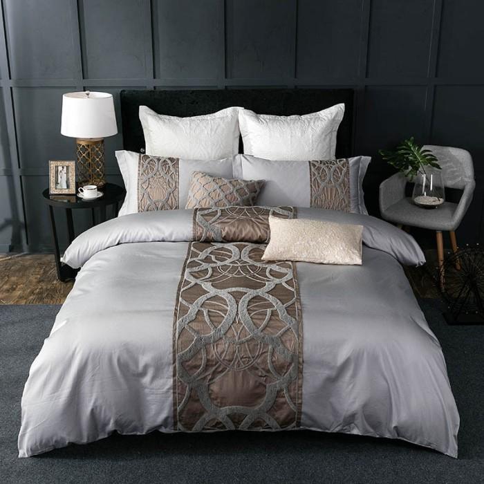 Jual Tercanggih 4 7pcs Silver Grey, Grey Silver Bedding