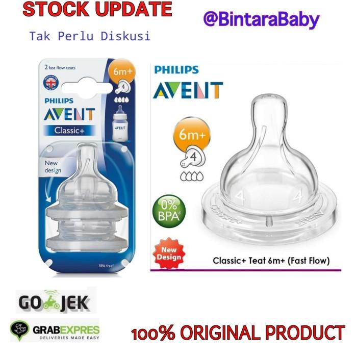 Foto Produk Philips Avent Teat Nipple Classic+ 6m+ fast flow/ Dot botol susu avent - box isi 2 dari Bintara Baby