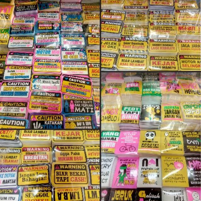 gambar lucu dan tulisan  jual stiker isi 100 pcs warning tulisan kata lucu unik sticker motor mobil kab bekasi tirtoyudogrosir tokopedia