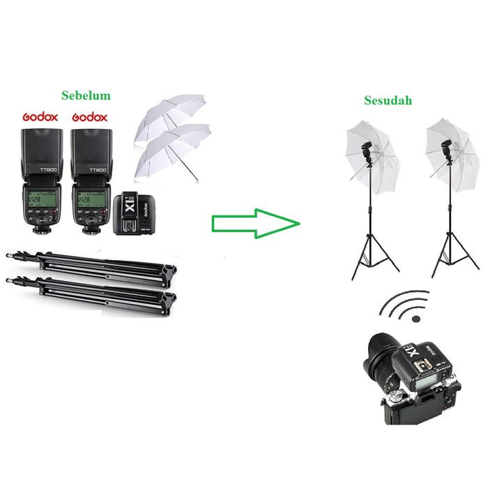 Foto Produk Paket Studio Payung Godox TT600 + Trigger Godox X1C TTL Lengkap dari Grosir Aksesoris Kamera