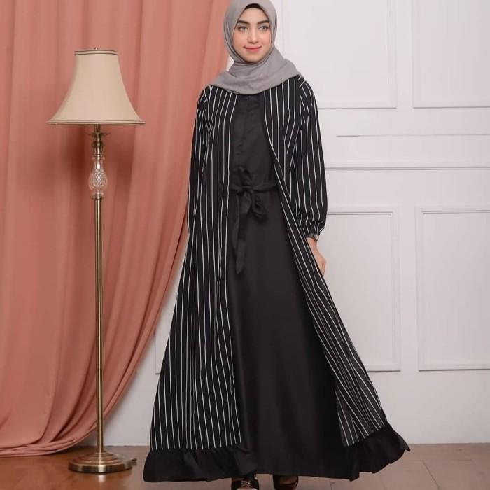 Jual Baju Muslim Wanita Melody Dress Salur Garis Warna Hitam Black Kab Bandung Qualityshopp Tokopedia