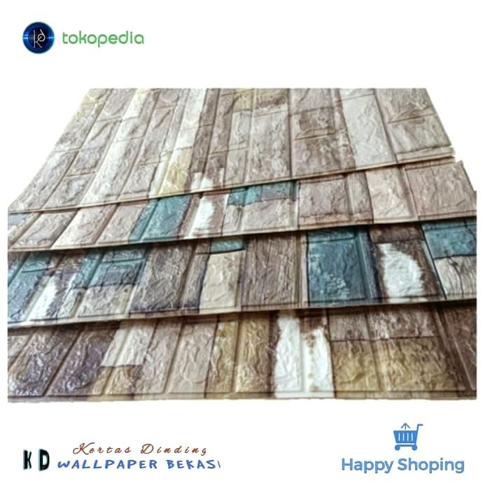 Jual Foam 3D Brick Wallpaper Dinding Foam Wood Colour