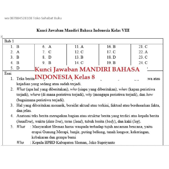 Jual Terbaru Buku Mandiri Erlangga Bahasa Indonesia Kelas 8 Smp Kunci Jakarta Utara Unjani Hariyah Tokopedia