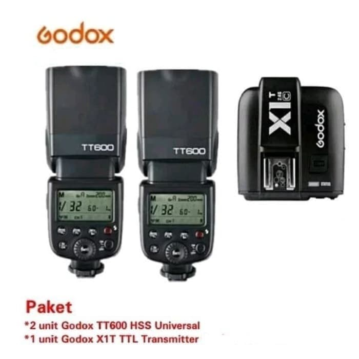 Foto Produk Paket Double Flash Godox TT600 +TRIGGER GODOX X1T-S TTL FOR Sony dari Grosir Aksesoris Kamera