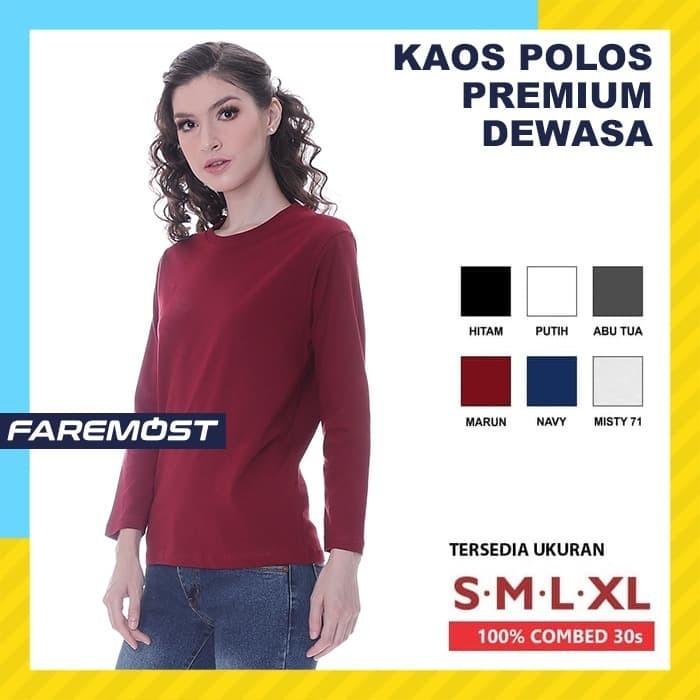 Foto Produk faremost-kaos Wanita Polos Lengan panjang Cotton Combed 30s dari faremost clothing