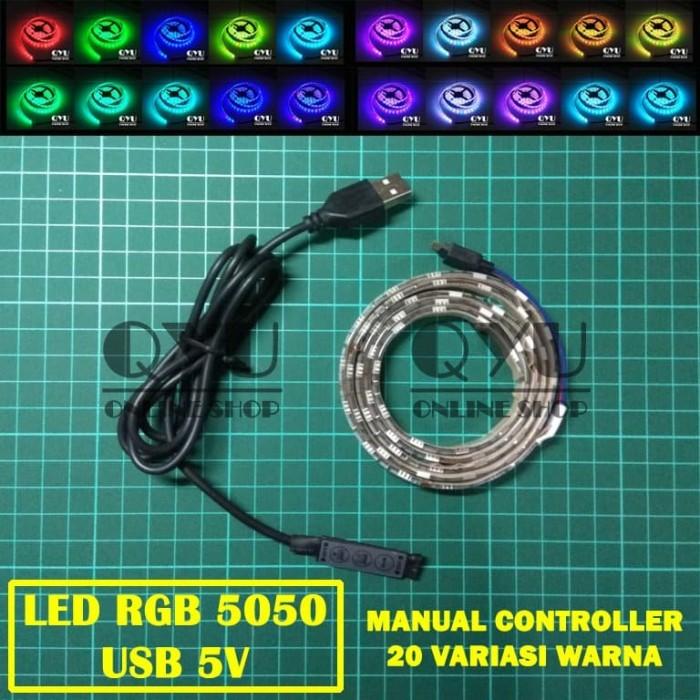 Foto Produk LED Strip RGB 5050 USB (Lampu Hias Meja PC TV) + Manual Control - 1 meter dari QYU Online Shop