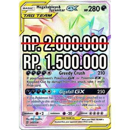 Secret Rainbow Rare Pokemon MegaSableye /& Tyranitar GX 245//236 Unified Minds