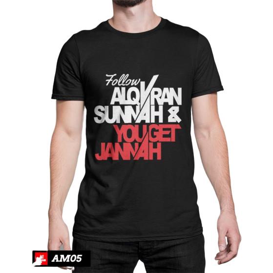 Foto Produk kaos dakwah follow alquran sunnah&you get jannah,warna hitam,merah dll - Putih, M dari Fandhi distro