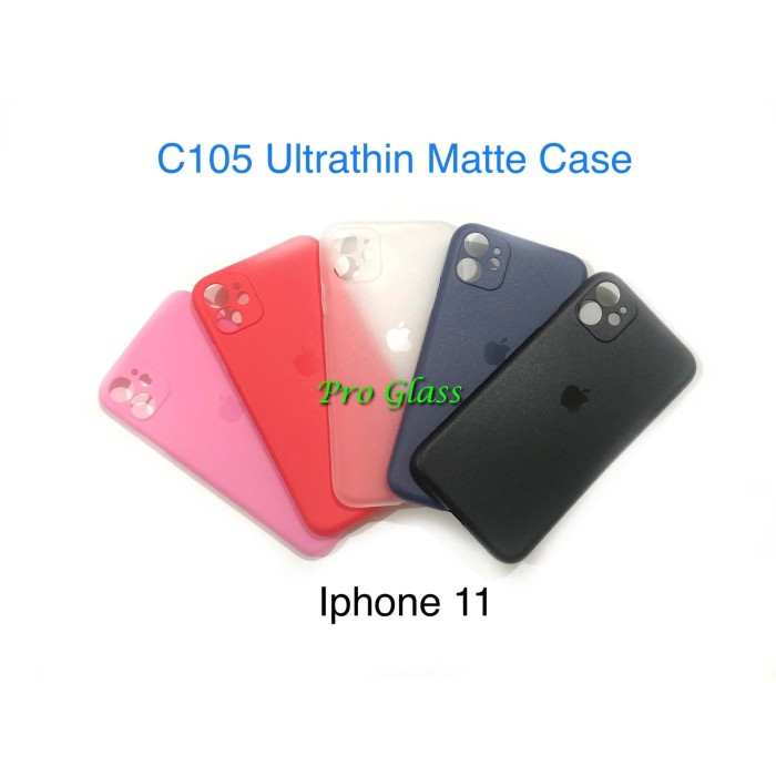 Foto Produk C105 Iphone 11 Frosted Matte Case Ultrathin Premium + Lens Protector dari Pro Glass