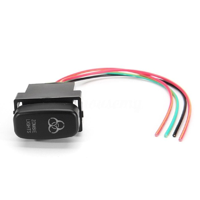 FOG LIGHTS Symbol White MNJ Motor LED Push Switch with Connector Wire Kit for Toyota
