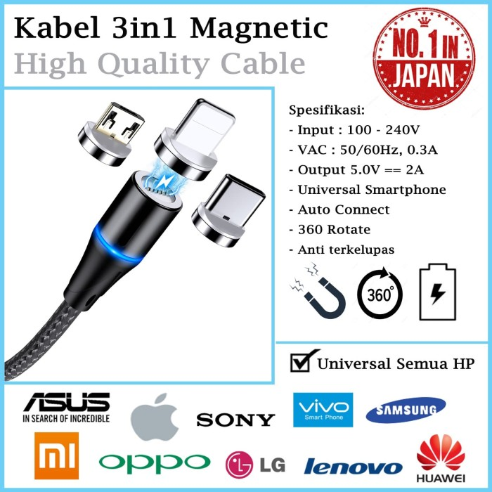 Foto Produk Universal Kabel Magnetic iPhone Android 3in1 Fast hp Charger Cable Car dari societyshop