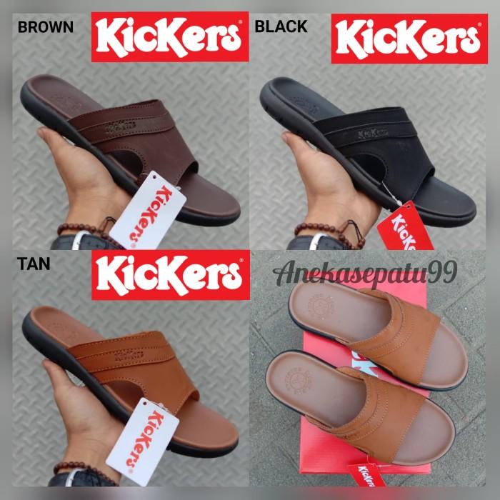Foto Produk Sandal Kulit Kickers Sendal Selop Pria Sandal Flat Formal Kulit Asli dari aneka sepatu99