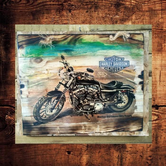 Jual Lukisan Kayu Harley Davidson Vintage 4 Pajangan ...