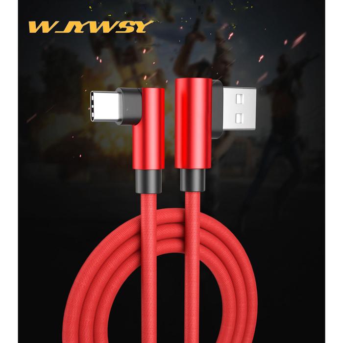 Foto Produk WJYWSY- Kable Data TYPE C L Shape 2.4A Fast Gaming Charger - TYPE C - Merah dari tokolingli
