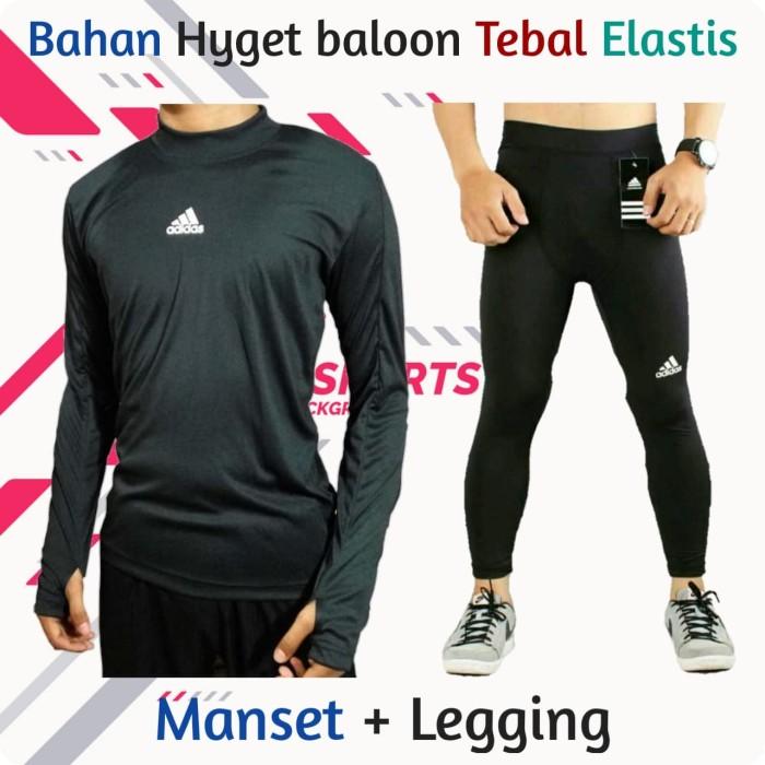 Jual Baju Manset Panjang Dan Celana Legging Pria Sport Running Gym Olahraga Adidas Xl Kab Bandung Konveksi Cikal Sport Tokopedia