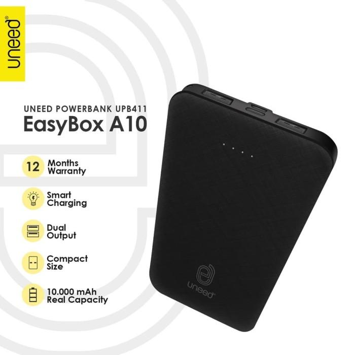 Foto Produk Uneed EasyBox A10 Powerbank 10000mAh Smart Charging 2.4A UPB411 - Hitam dari POSHacc