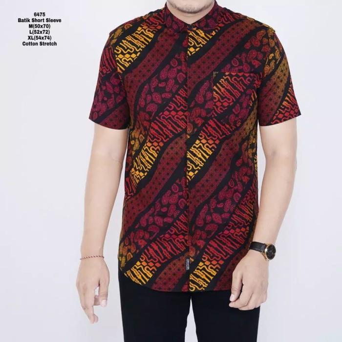 Foto Produk Kemeja Batik Slim Fit Lengan Pendek Cotton Stretch Batik Pria Red - Merah dari inisial.R