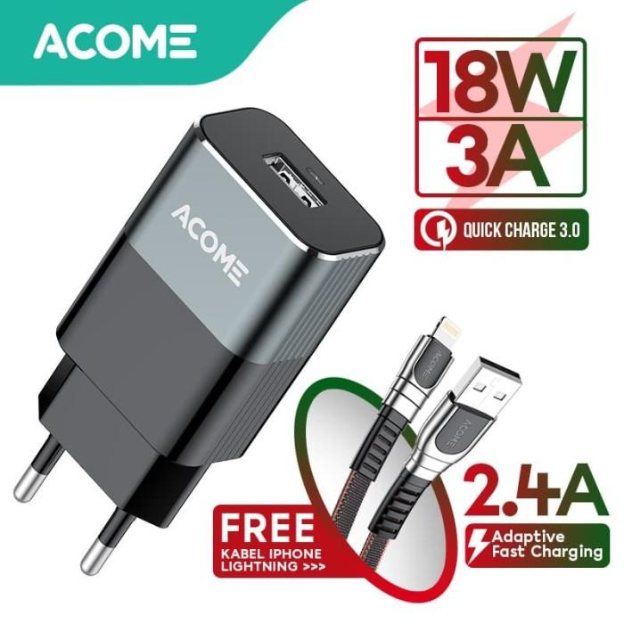 Foto Produk ACOME Charger QC3.0 (AC01) FREE Kabel iPhone Fast Charging (AKL-010) dari Acome Indonesia