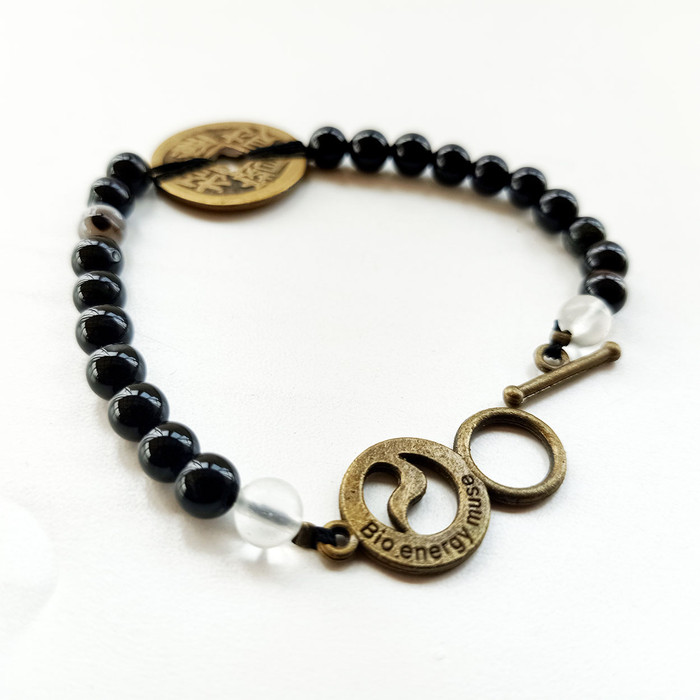 Foto Produk Gelang Tali Batu Giok Bola 6mm Koin Cina- VeE Gelang Terapi Kesehatan - Hitam dari Vee Jewelry