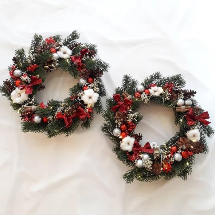 Christmas Flower Wreath Hiasan Natal Dekorasi Dinding