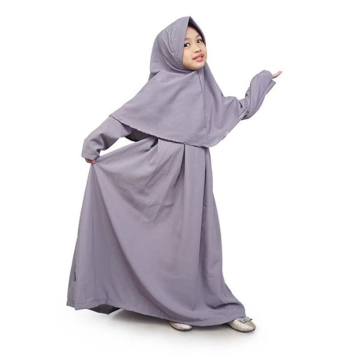 Foto Produk BAJUYULI - Baju Muslim Gamis Anak Set Jilbab Polos Wolfis Abu MWAA01 - XS dari Grone