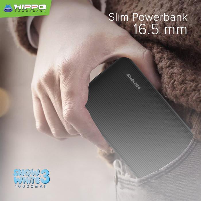 Foto Produk Hippo PowerBank Snow White 3 10000mAh Smart Detect Charging SimplePack - Hitam dari Hippo Power Bank