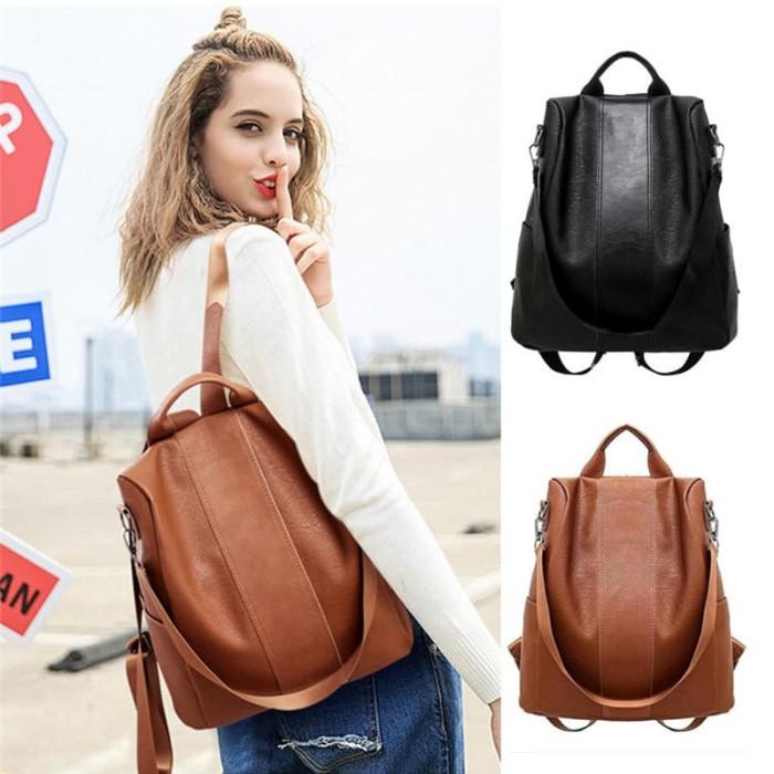 Foto Produk BP40 Tas Ransel Wanita Kulit PU Cool Girl Anti Thift Backpack - Cokelat dari EnnWen Online Store