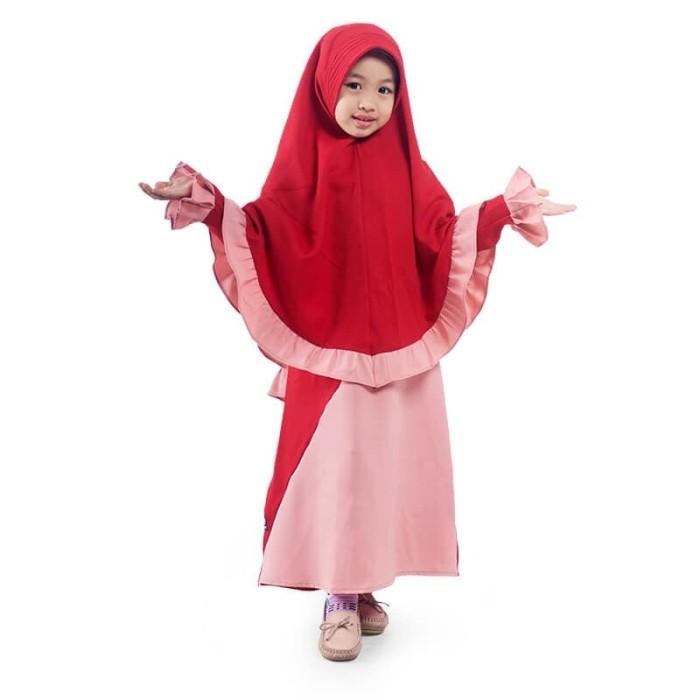Foto Produk BAJUYULI - Gamis Anak Perempuan Syar'i Rempel Diagonal - Marun LSRN01 - XS dari Bajuyuli